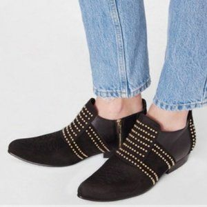 Anine Bing Gold Studded Black Low Charlie Boot 41